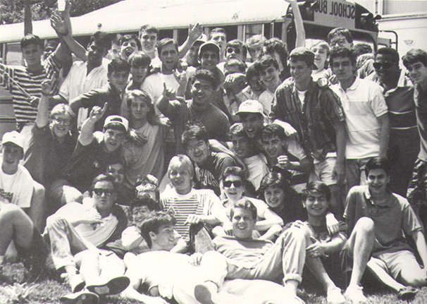 old black and white photograph of GC students