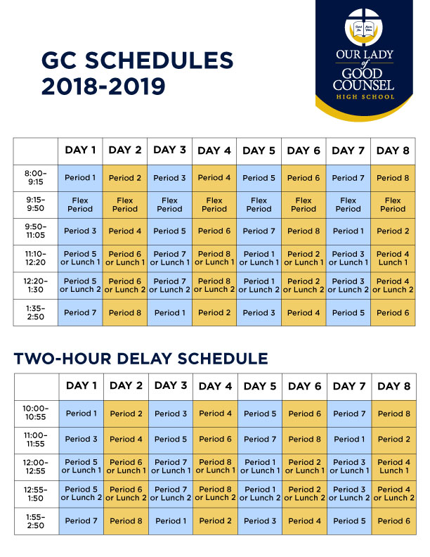 good counsel class schedules