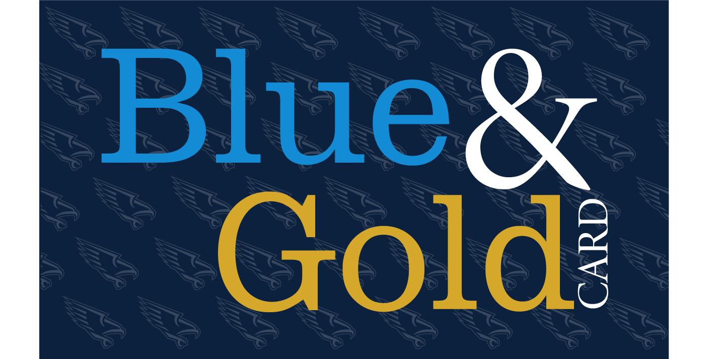 blue and gold card